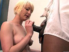 Watch the beautiful blonde babe Nora Skyy having her tight pink pussy eaten out and penetrated by this guy's thick black cock in this interracial scene.