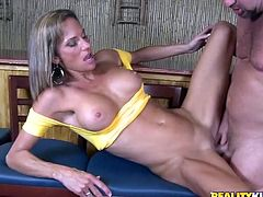 Be part of this reality video where a blonde cougar, with big knockers wearing jeans, goes crazy over this guy's pole and moans like a pornstar!