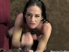 Superb brunette girl sucks big black cock skillfully. Later on she lies down on a sofa and takes ass pounding. This cutie also gets her mouth filled with cum.