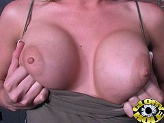 This astonishing MILF with delicious big boobs knows how to suck huge hard black cock. Watch her enjoyment in this blowjob.