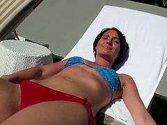 Evelyn Lacie is a hot girlfriend who wants to keep things fresh in her relationship. She goes for anal sex after a long day of swimming and sunbathing. She enjoys it.