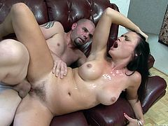 Sexy brunette chick Ashli Ames is playing dirty games with three studs. She sucks and rubs their boners remarcably well and then the men fuck Ashli's coochie by turns.
