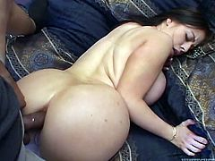 Busty brunette Daphne Rosen sucks and rubs a BBC and gets horny. Then she allows the black stud to pound her cunt and ass doggy style and enjoys it much.