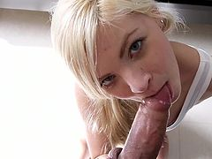 Sweetie gets fucked and creamed with creamy jizz during intense POV fuck