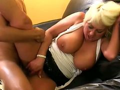 Hot blonde Dana Hayes shows her big tits to some guy. Then she sucks his boner and they fuck in side-by-side and reverse cowgirl positions.