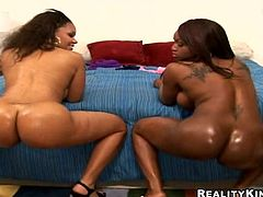 Two sexy black butts are going to shake on that huge cock! Threesome with two ebony chicks is a chocolate dream come true!
