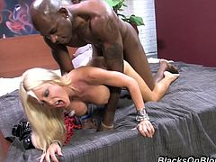 This astonishing babe picked up black dude with huge black cock to get laid. This horny chick gives him her tight cunt to hammers it hard and eat cum.