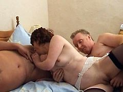Horny wife accepts a third guy to join their slutty hardcore fuck show
