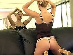 Have a blast watching this long haired blonde, with natural love pillows wearing sexy lingerie, while she touches herself in a solo model video.