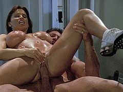 Devon Michaels has fun after a workout. She gives a blowjob to muscled guy and then gets banged on a cowgirl position.