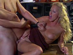 This blondie tries to avoid uncomfortable questions. So, she gives a blowjob to a cop. Then she takes her clothes off and gets fucked from behind.