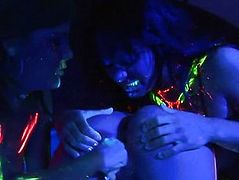 Blacklight lesbo threesome with Alexis Love,  Michelle Avanti and Sandra Romain