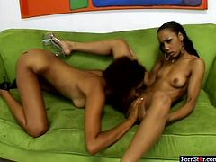 Black chicks Krystal Wett and Misty Stone lick each other's pussies like mad