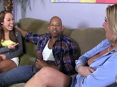 Phyllisha Anne and Haley Sweet share black cock. This potential family feud turns into a threesome with Shane's big, black cock as mediator between horny mother and daughter.