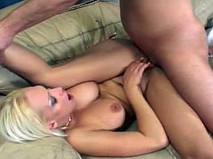 Blonde whore gets her mouth seriously fucked, followed by her tight pussy, asshole and then huge boobs .
