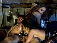 Brunettes Alektra Blue and Tori Black are going to make his dreams come true. It all starts with a double blowjob and then his dick makes them moan.
