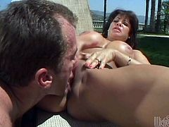 This amazing cougar is making this man so horny and hard with awesome blowjob. He licks her cunt and then nails it with his big stiff rod.