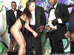 Adorable brunette babe in leather lingerie gives great blowjob to four Black dudes. These guys spray their cum all over Adrianna's pretty face.