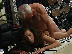 Fat old man fucks curly hot babe