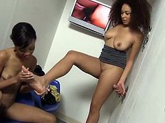 Serena Ali and Amber Steel inside glory hole. The use for the hole in the wall becomes apparent when white cock comes through and feel up both black sluts. There's absolutely no shame in either girl's game.