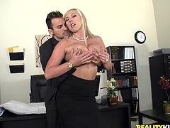 Sizzling blonde milf Skylar Price is playing dirty games with some dude in a bedroom. She favours the man with a blowjob and then lets him fuck her cunt in missionary position and from behind.