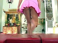 Alison Angel plays with her pussy in a buddhist temple