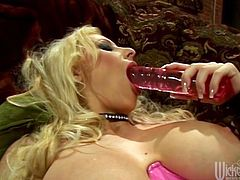 A big titty blonde bitch sucks on this dude's hard dick and then gets it shoved balls deep into her fuckin' gash! Check it out!