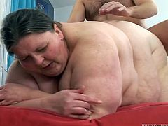 Have a look at this hot scene where this horny BBW mature sucking on this guy's hard cock before he nails her her fat pussy.