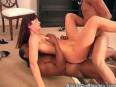 When this hot white girl gets gang banged by three black guys she ends up with a cock in each hole all at the same time.