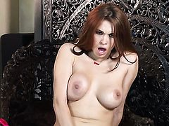 Beautiful tart Sabrina Maree displays her body parts before she plays with herself