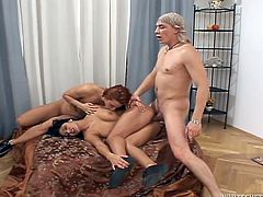 Tera Joy and Jasmina are having fun with horny dude Steve Q indoors. They suck his boner remarcably well and then get fucked in the reverse cowgirl and other positions.