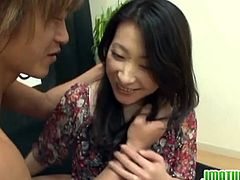 Kinky mature Japanese woman plays guessing game for husband.Watch how she guess wrong cock and ends up getting fucked hard in front of her husband.Enjoy her hairy pussy fingered and fucked.