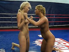 Blonde Teena Dolly and Linda Ray enjoy another lesbian sex session in front of the camera