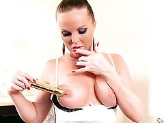 Silvia Saint shows it all and then masturbates in closeup