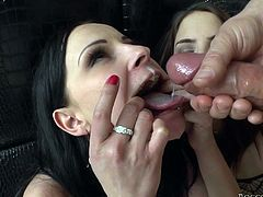 Make sure you have a look at this hardcore scene where these smoking hot ladies have a rough threesome with a massive cock that leaves them out of breath.