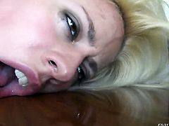 Jessie Volt gets a mouthful of meat stick in oral action with Manuel Ferrara before anal sex