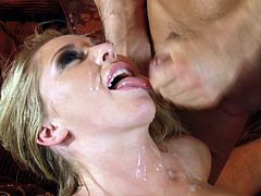A fuckin' slutty blonde hottie sucks on this dude's hard cock and then takes it up her fuckin' gash, check it out right here!
