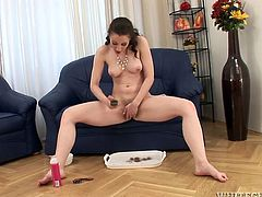 Watch this hot scene where this sexy babe trims her hairy pussy down before shaving it all off and giving you a boner.