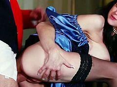 Long haired black head voluptuous girlie with monstrous ballrooms rested leg spread on chair and got her tasty sweet kitty passionately eaten by that fuck thirsting dude. Enjoy this hot brunette sex pot in Fame Digital porn clip!
