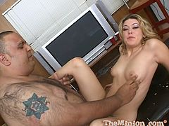 Masturbate watching this blonde babe, with natural knockers wearing cute lingerie, while she covers this dude in food and gets fucked by him!