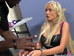 Curvy Jordan Pryce gets her hot tits massaged and pussy licked by a Black dude. This White babe gets fucked in both holes on a table.
