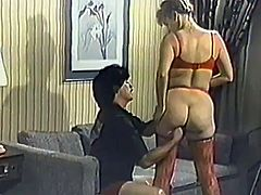 Kinky mature couple are getting naughty in a homemade sex clip. They pet each other in the living room and then have some naughty doggy style banging.