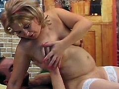 Nasty mature goes wild with her step son in a stunning hardcore show