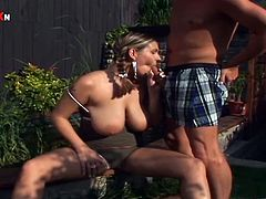 Have a look at this rough hardcore scene where the busty blonde Liana Smiss sucks on this guy's cock before he fucks her tight asshole outdoors.