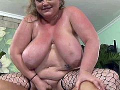 Fat old slut with giant belly shakes her heavy saggy melons while riding big dick in reverse cowgirl pose. That mature obese slut looks really disgusting!