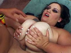 Glory Fox is a wild and busty brunette fattie ready to tease and masturbate her man with her big round tits. Then watch her getting banged balls deep into heaven.