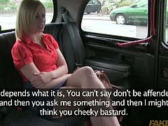 Naive blonde milf accepts to get her pussy fucked on camera by a fake taxi driver. Watch as blonde slut opens her legs and gets shaved cunt nailed on POV camera.