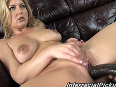 Amazing blonde babe shows off her nice ass and big tits. Then Avy starts to dick very big black cock. Then a guy starts to fuck her gently otherwise he can tear up Avy's pussy.