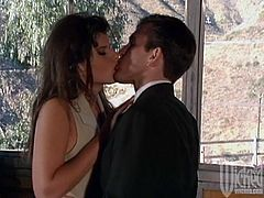 Hot dark-haired chick Kirsty Waay spreads her legs wide and lets some dude eat her snatch. Then they fuck in missionary position and enjoy it much.