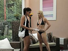 Blonde hoochie Kathia Nobili has fire in her eyes as she bangs herself with toy